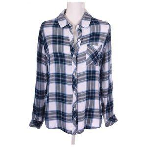 RAILS Plaid Blue Button Down Shirt Size M